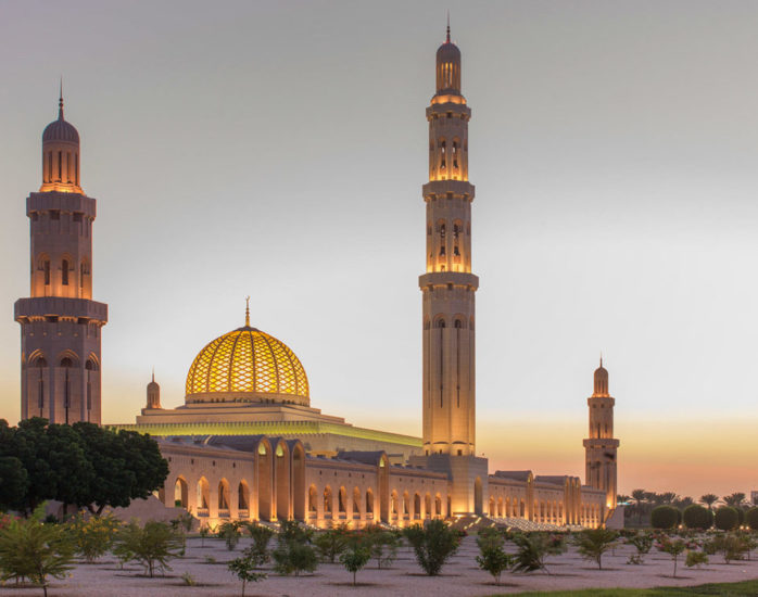 The Sultan Qaboos Grand Mosque is the main Mosque in the Sultanate of Oman.